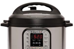 Close up of a 6 Quart Duo to compares the differences between the Instant Pot Duo Evo Plus vs Lux